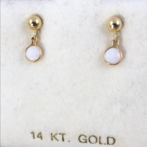 Vintage Accessories - 4MM Ball Stud with 4MM White Opal Dangle 10MM Drop